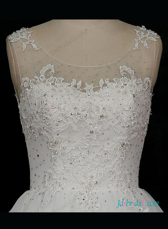 Wedding - Sheer tulle scoop neck illusion lace back ball gown wedding dress