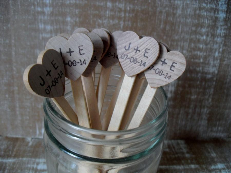 Mariage - Wooden Drink Stirrers Personalized for Wedding Coffee Stirrer - Set of 25 - Item 1576