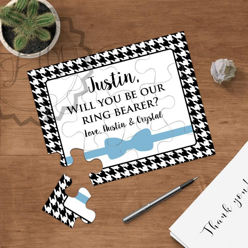 Mariage - Will You Be Our Ring Bearer, Will You Be My Jr. Groomsmen, Bow Tie Puzzle Ivitation, Personalized Ring Bearer Proposal, Ask Ring Bearer, NEW