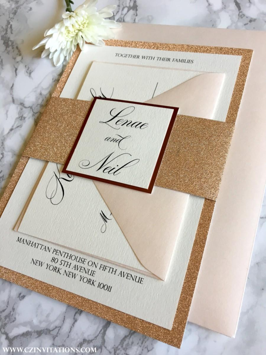 Rose Gold Glitter Wedding Invitation With Glitter Belly Band Rose