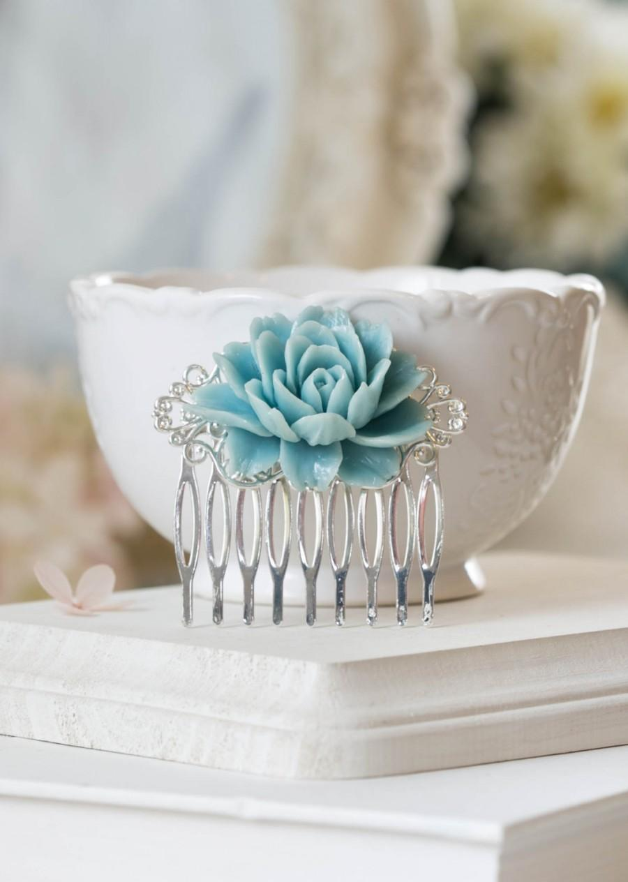 Mariage - Silver Filigree Blue Rose Flower Hair Comb Something Blue Wedding Bridal Hair Comb Bridal Hairpiece Bridesmaid Gift Victorian Country Chic