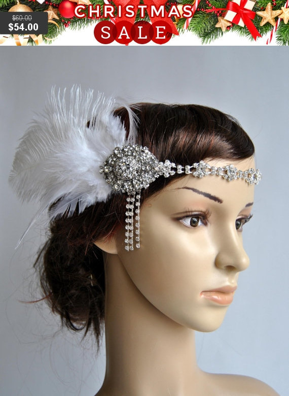 Свадьба - The Great Gatsby 20's rhinestone flapper headband,20's flapper Headpiece, rhinestones headband, Bridal Headband, Crystal Ribbon Headband