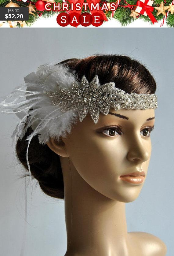 Hochzeit - 1920's rhinestone flapper headband, Bridal Head Piece, 1920's Flapper, Great Gatsby, rhinestones Crystal ribbon Headband, wedding Headband