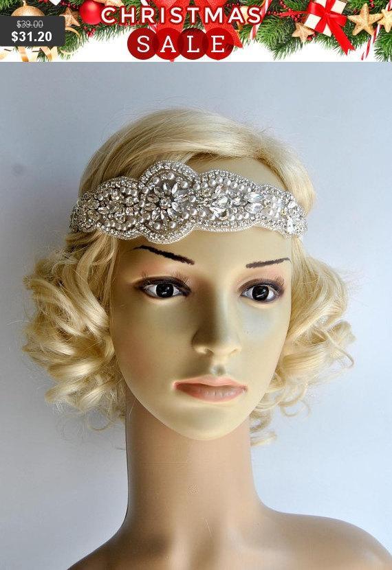 Wedding - Crystal Pearls Rhinestone, flapper Gatsby Headband, Wedding Headband Headpiece, Halo Bridal Headpiece, 1920s Flapper headband