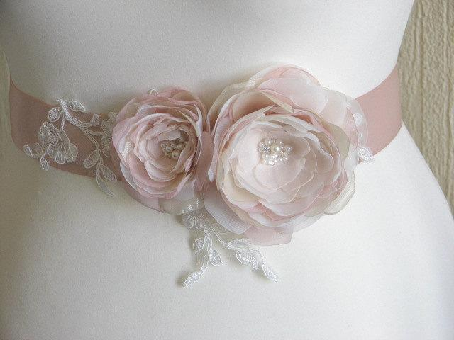 Mariage - Champagne blush sash Blush ivory wedding sash Champagne blush wedding Blush ribbon sash Champagne dress Blush wedding dress Blush wedding