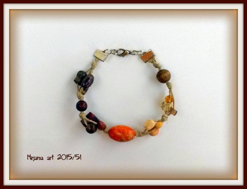 Свадьба - Eco friendly bracelet, beaded bracelet, natural bracelet, rope bracelet, autumn bracelet, gift for her, bracelet in handmade, mixed media