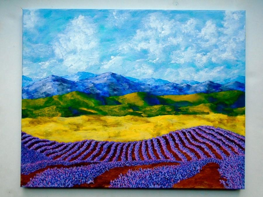 """Свадьба - Lavender In Provence (ORIGINAL ACRYLIC PAINTING) 16"""" x 20"""" by Mike Kraus"""