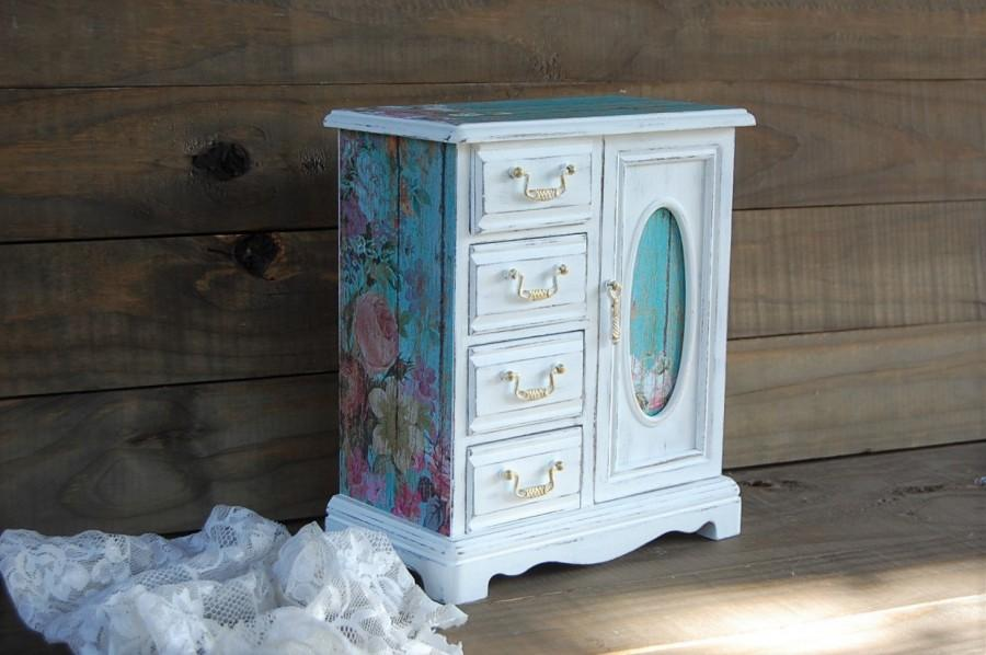 Shabby Chic Armoire shabby chic jewelry box, jewelry armoire, white, aqua, decoupage