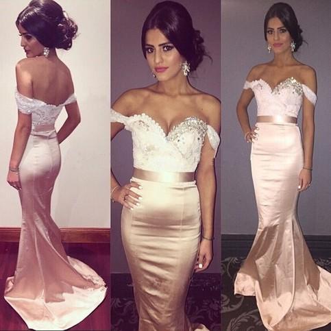 زفاف - Elegant Off the Shoulder Mermaid Bridesmaid Dress with Beaded from Dressywomen