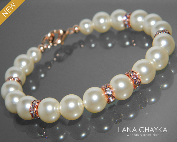 Wedding - Pearl Rose Gold Bridal Bracelet Swarovski Cream Ivory Pearl Rose Gold Wedding Bracelet Rose Gold Pearl Bracelet Wedding Bridal Pearl Jewelry