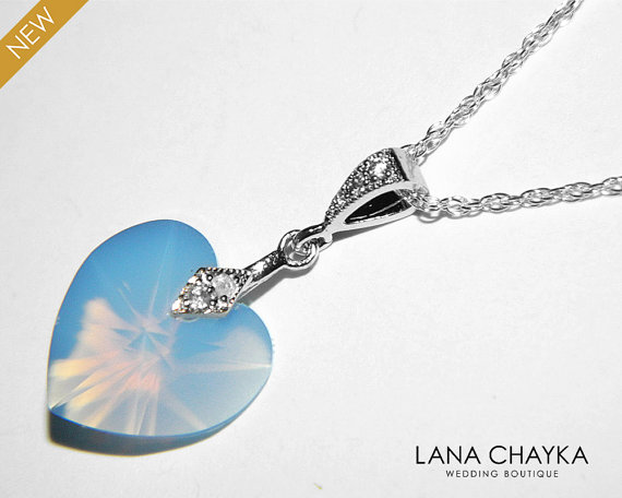 Hochzeit - Air Blue Opal Necklace Swarovski Crystal Air Blue Opal Heart Pendant Sterling Silver CZ Blue Opal Necklace Wedding Blue Heart Necklace