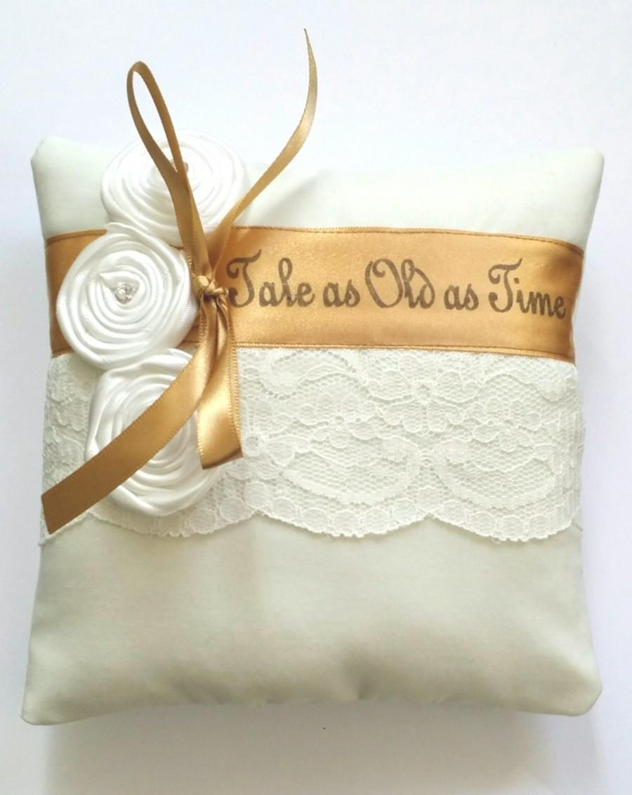 Mariage - Beauty and the Beast Inspired,Tale as Old as Time Wedding Ring Pillow-(6x6 inch pillow)