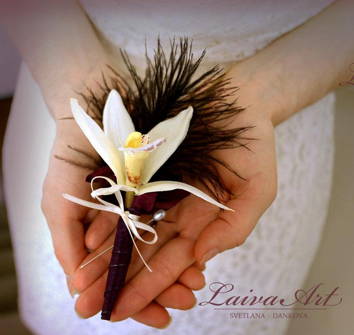 Wedding - Orchid Wedding Boutonniere  Orchid Wedding Boutonnieres Rustic Boutonniere Grooms Boutonniere