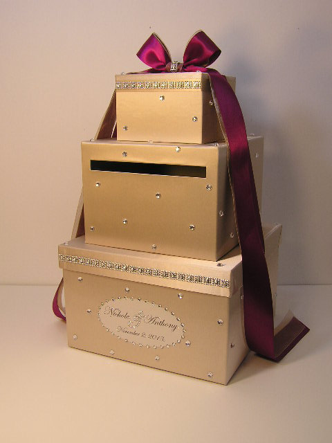 Mariage - Wedding Card Box Champagne and Burgundy Gift Card Box Money Box Holder--Customize your color