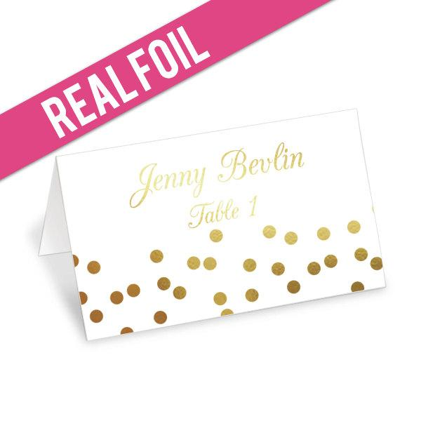 Wedding - Foil Confetti Place Cards - Gold Foil, Rose Gold, Silver Foil - Wedding Escort Cards - Wedding Place Cards - Party Place Cards - more colors