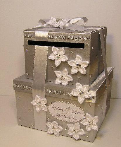 Mariage - Wedding  Card Box 2 tie Silver and White Gift Card Box Money Card Box Holder-customize your color