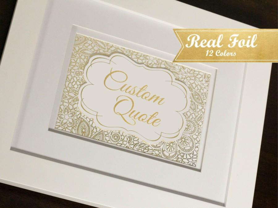 Mariage - Custom Real Gold Foil Print With OPTIONAL Frame - Gold Lace Custom Gold Foil Print
