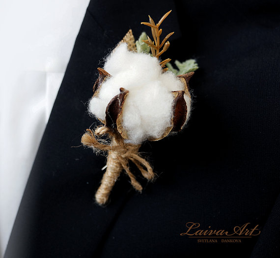 Wedding - Cotton Blossom Boutonniere Wedding Boutonniere Rustic Boutonniere Grooms Boutonniere Cotton Ball Boutonniere Country Wedding