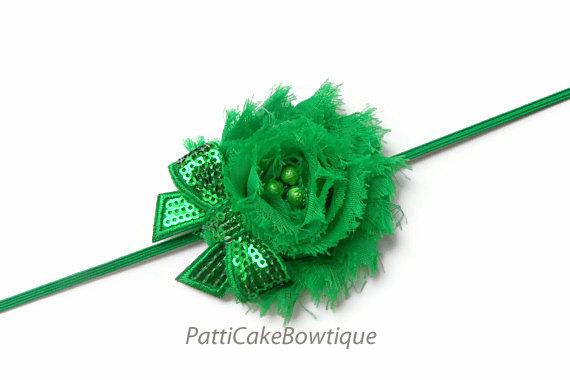 Hochzeit - Baby Headband, Shabby Chiffon Green Flower Headband, Green Headband, Christmas Headband, Girls Headband, Toddler Headband, Newborn Headband
