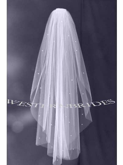 Wedding - White, Ivory, diamond white  RHINESTONE CRYSTALS  1 tier Elegant Wedding Bridal veil. Choice of, ELBOW, fingertip, waltz, chapel, Cathedral