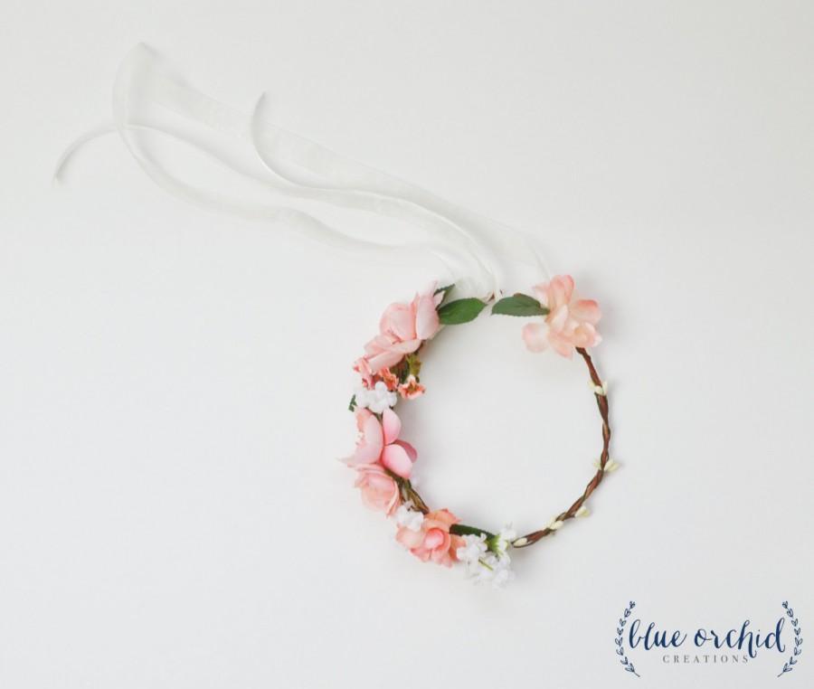 Свадьба - Flower Girl Crown, Silk Flower Crown, Flower Crown, Peach, Pink, Cream, Wedding, Wedding Crown, Boho, Beach Wedding