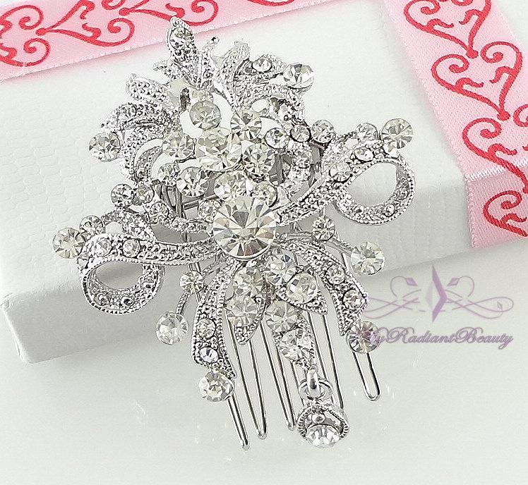 Свадьба - Bridal Comb, Wedding Comb, Bridesmaid Hair Accessory, Tiara Comb, Bridal Jewelry, Rhinestone Comb, Crystal, Comb, MyRadiantBeauty HC0030