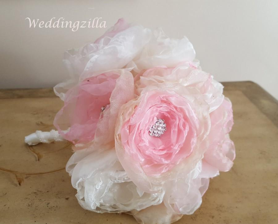 Wedding - Handmade Fabric Flower Brooch  Bouquet, Blush Wedding Bouquet,  Victorian Bridal Bouquet,  Wedding Bouquet, Wedding Flowers