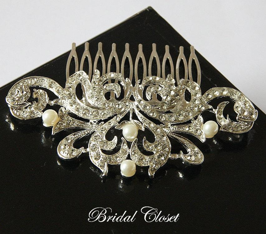 Mariage - Bridal Hair Comb, Rhinestone Pearl Comb, Crystal Bridal Comb, Wedding Hair Comb, Hair Comb, Wedding Comb, Bridal Headpiece, Bridal Comb