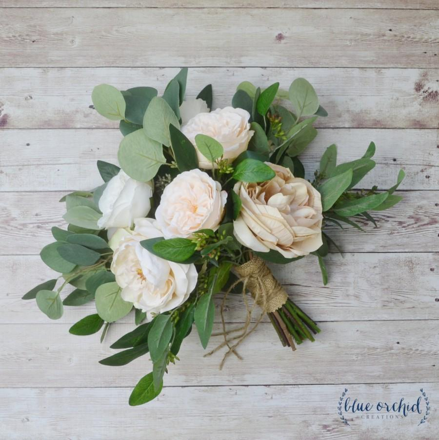Wedding - eucalyptus bouquet, peony bouquet, garden rose, cabbage rose bouquet, silk bouquet, wedding bouquet, neutral bouquet, cream, ivory, beige