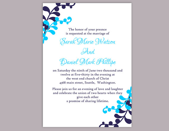 Boda - DIY Wedding Invitation Template Editable Word File Instant Download Printable Leaf Invitation Blue Invitations Elegant Navy Blue Invitation