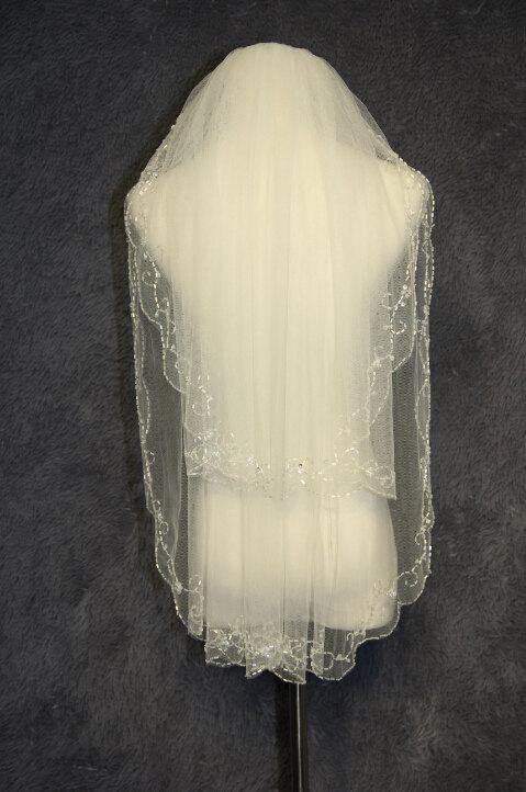 Свадьба - 2 layer bridal veil, handmade beaded beaded bridal veil white ivory veil new