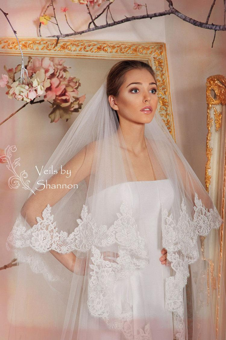 Свадьба - Drop Lace Wedding Veil in Cathedral Length,2 Tier Cathedral Lace Veil with Elbow Length Blusher-Cathedral Veil Lace, Lace Cathedral Veil V3C