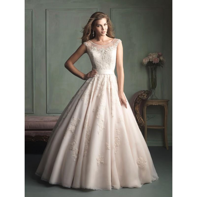 Allure Bridals 9114 Illusion Neckline Lace Ball Gown Wedding Dress ...