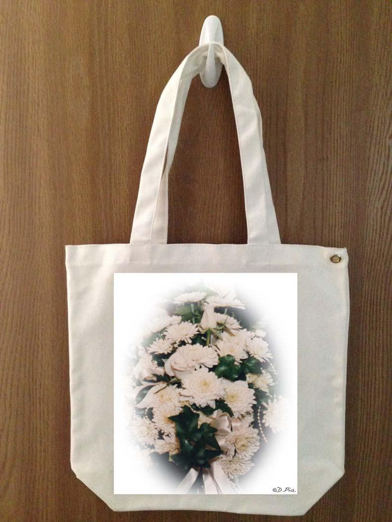 "Wedding - Wedding Handmade Canvas White Flower Tote D. Pia. Original Art ""Wedding Bouquet"""