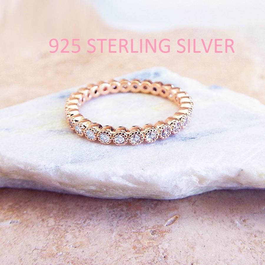 Hochzeit - 2 mm Sterling Silver Rose Gold Plated full eternity milgrain Bezel CZ Ring stacking ring Eternity Band Wedding Anniversary Ring CZ diamonds