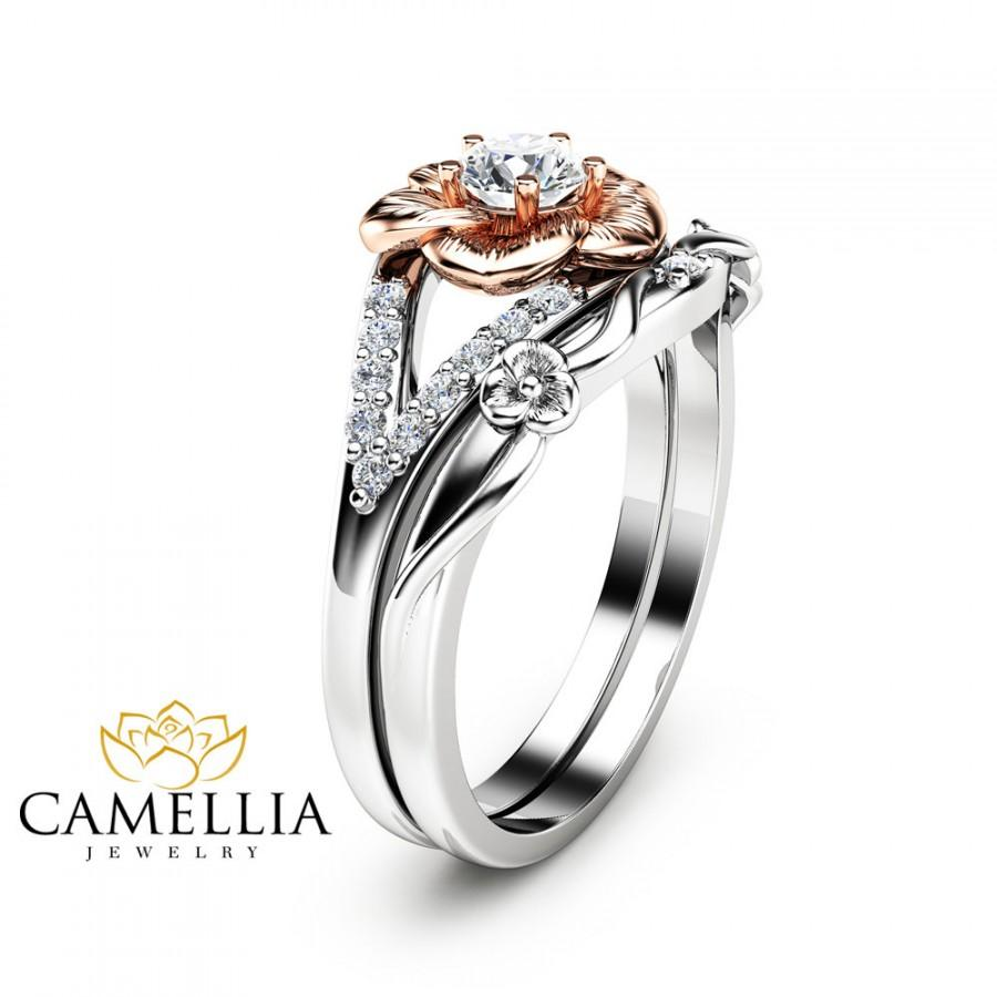 ring engagement rose rings camellia set flower gold media diamond
