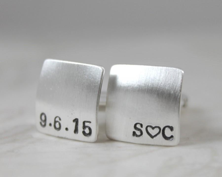 Wedding - Custom Cufflinks, Mens Personalized Wedding Cufflinks, personalized cuff links, Square Cufflinks, Solid Silver Cufflinks, Initials & Date