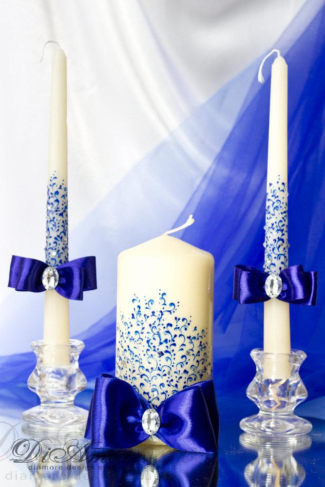 Royal Blue Wedding Unity Candle From The Collection Lace ...