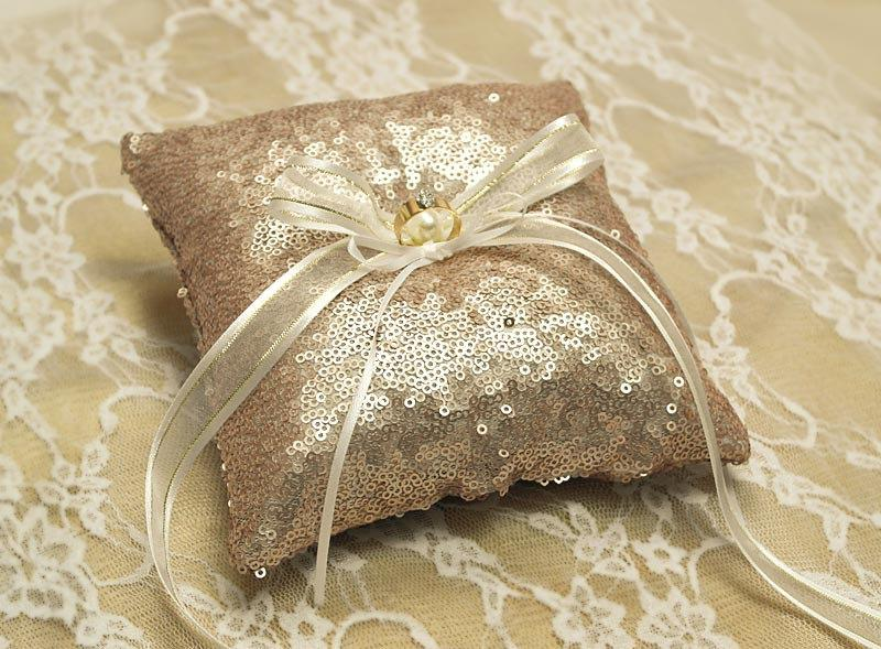 Sequin Wedding Ring Pillow ROSE GOLD Bearer DecorGold And Silver Pw005