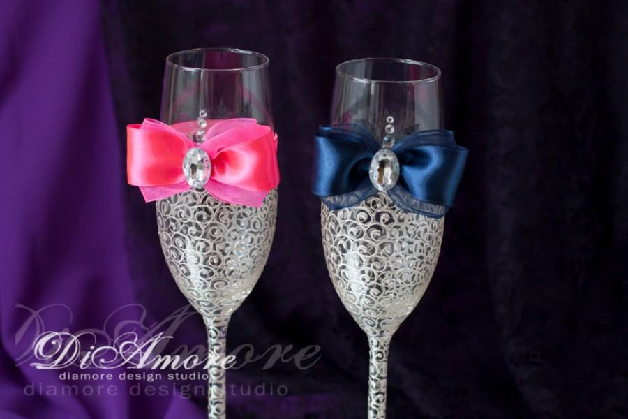 Wedding - Navy blue  hot pink wedding champagne flutes, toasting glasses, bride and groom, personalized set, wedding gift ideas 2 pcs /G4/6/11-0008