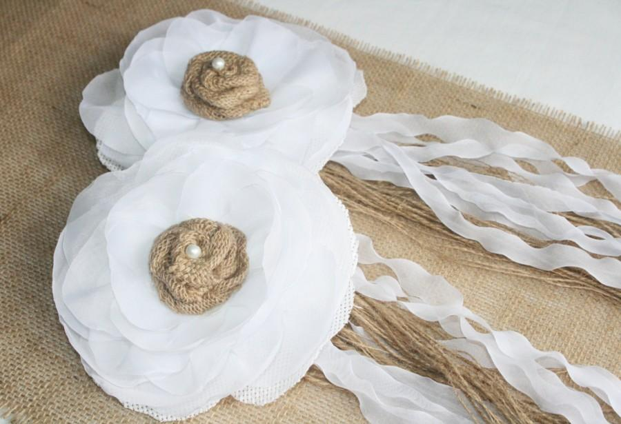 Hochzeit - Set of 2 Wedding FLOWER Fabric with pearls and ribbon for Wedding Decoration
