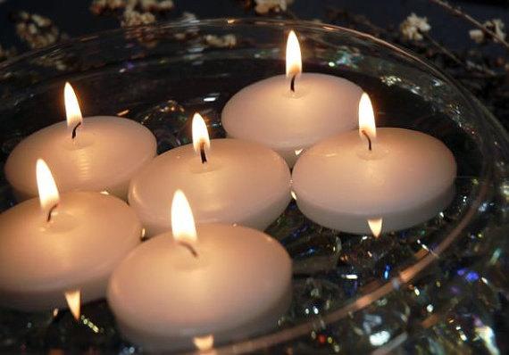 زفاف - Set of 4 Unscented Floating Candles- 2 inch