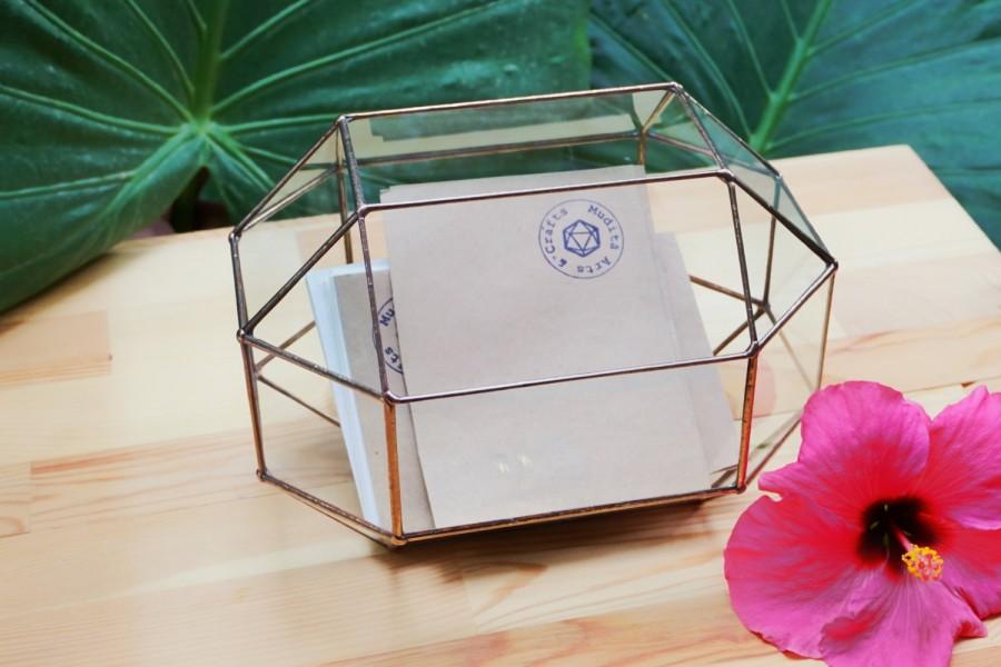 Medium Wedding Card Box Holder Geometric Gl Envelope Rustic Decor Jewelry Mail Terrarium