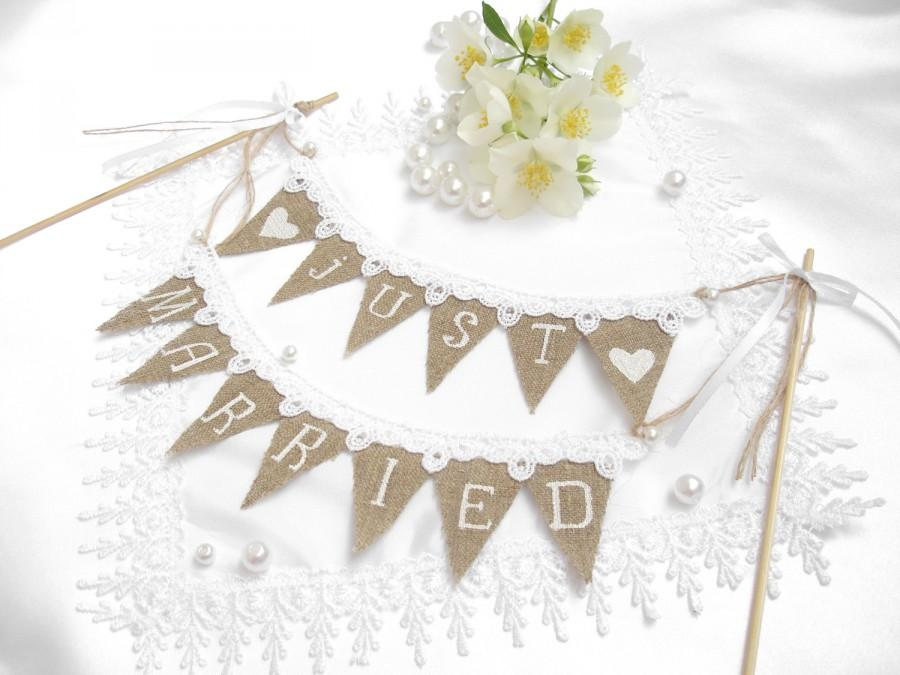 Свадьба - Wedding Rustic Sign Cake Topper Just Married Small Banner