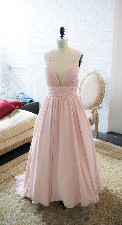 f8bf3674dd11 Blush Chiffon Flowy Simple Wedding Dress with Lace, Lace Wedding Dress, Blush  Wedding Dress, Simple Wedding Dress, Unique Wedding Dress