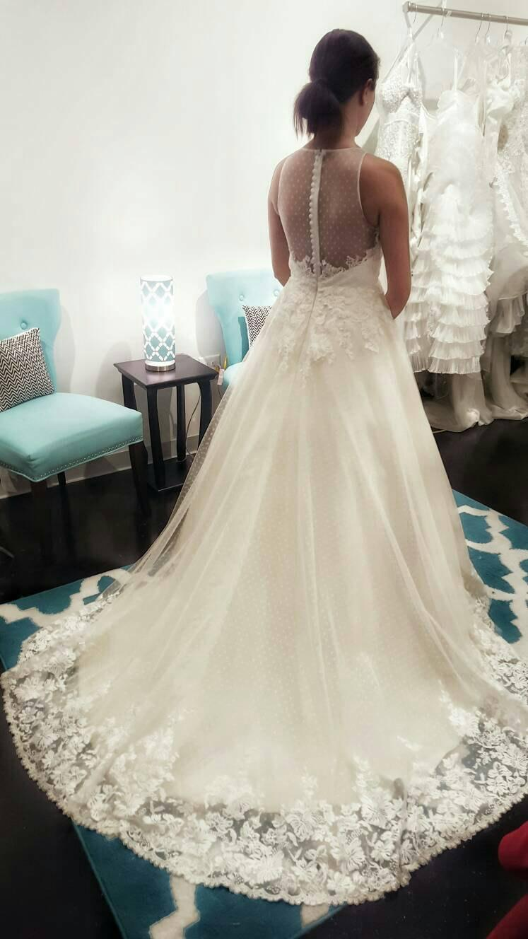 Stunning Vintage Lace Swiss Dot A Line Wedding Dress Unique Wedding