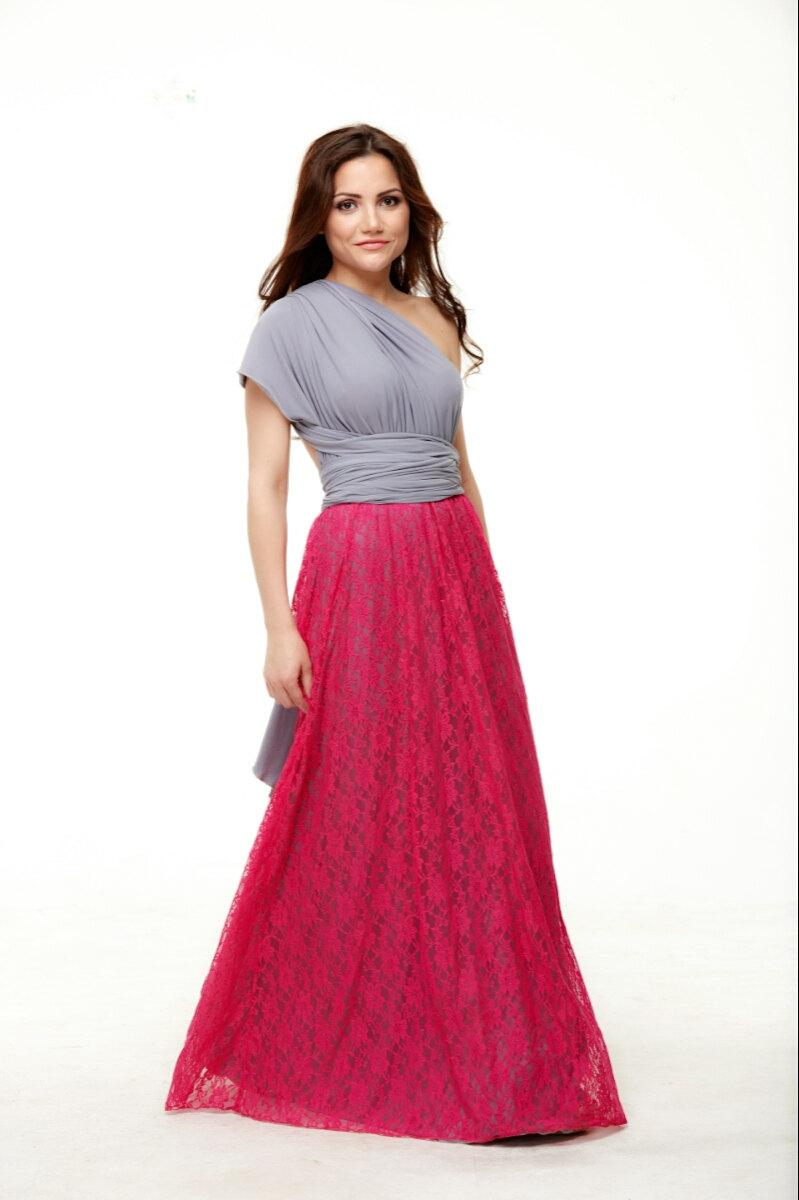 Свадьба - Beautiful infinity Dress, Contrast Grey and Fuchsia, Bridesmaid Lace Dress top Convertible,Floor Length Dress.