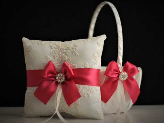 Wedding - Ivory & Fuchsia Wedding Basket and Ring Bearer Set  Raspberry Pink Flower Girl Basket and Wedding Ring Pillow  Dark Pink Pillow Basket Set