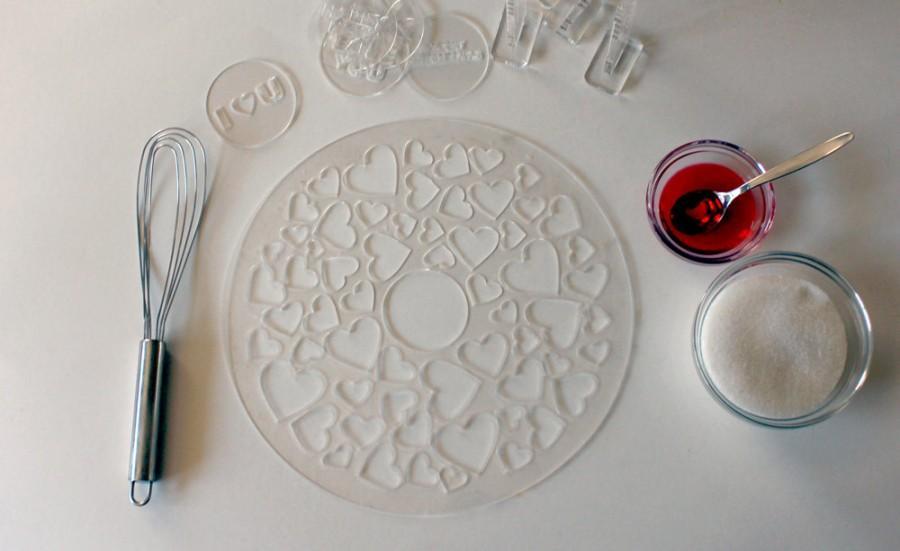 Свадьба - Hearts stencil. Round stencil for cake decoration R028