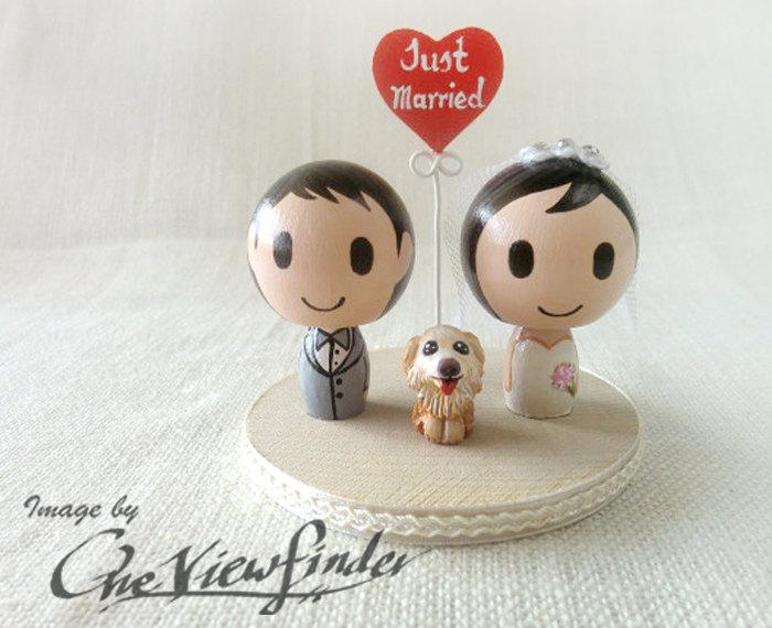 """Wedding - Customize 2"""" Wedding Cake Topper with heart message and a pet"""